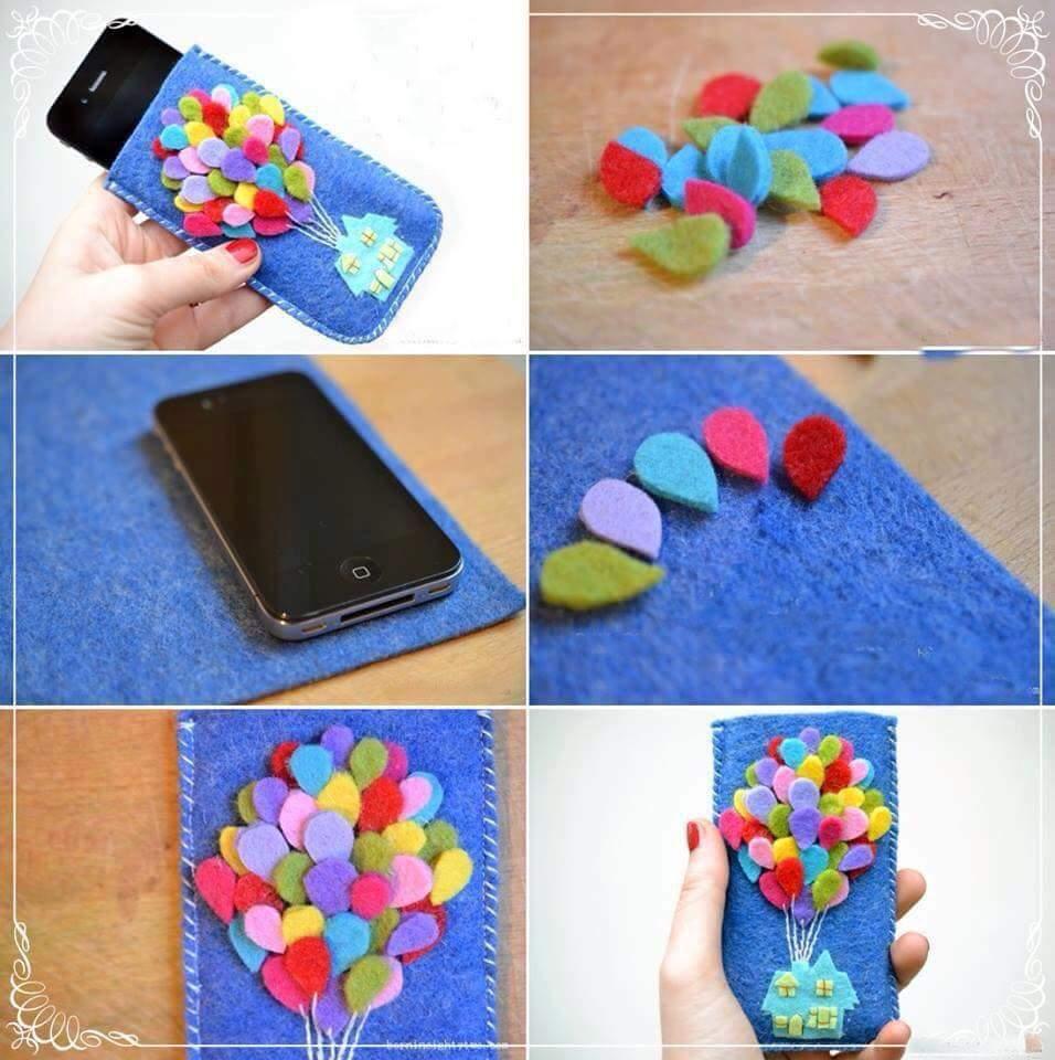 porta cellulare in feltro colorato